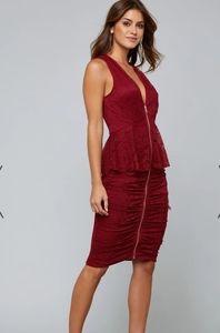 Bebe Lace Peplum Dress